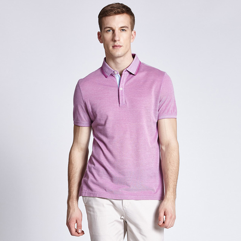 夏季休闲时尚罗纹领丝光棉短袖POLO衫定制BDTS007