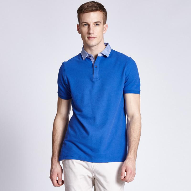 时尚休闲纯色衬衫领T恤纯棉短袖POLO衫定制BDTS009