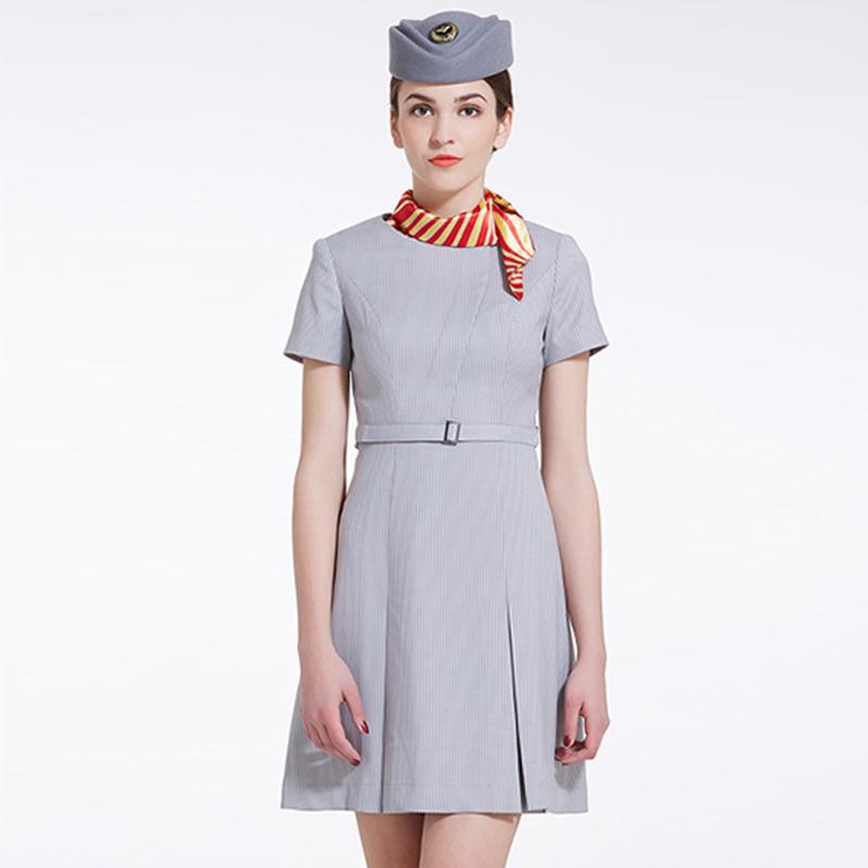 团体制服空姐服夏装款 灰色连衣裙定制BDFU014