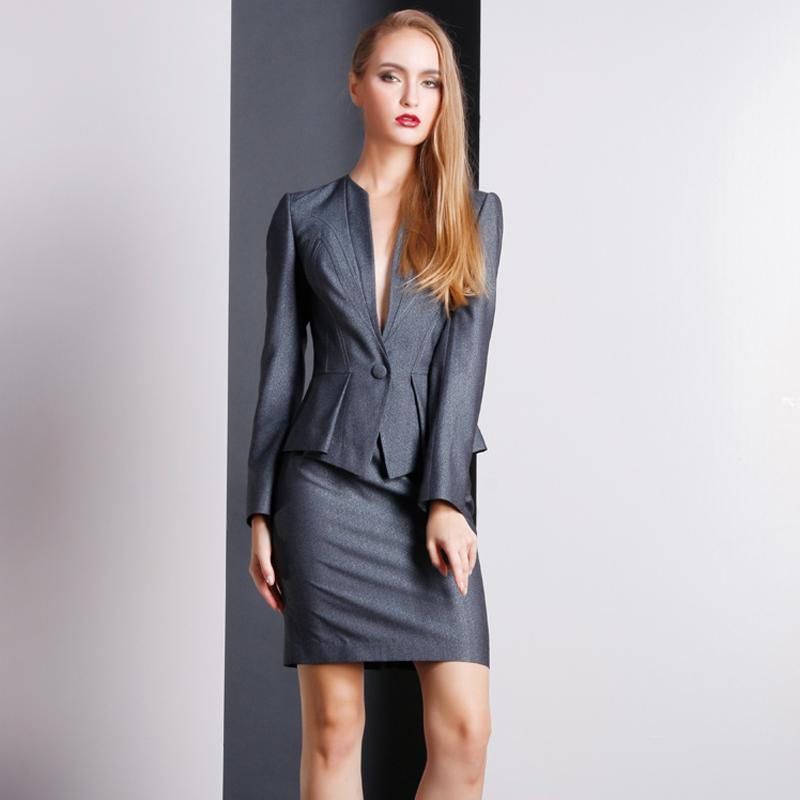 职业装灰色女装套装制服高级量身定制