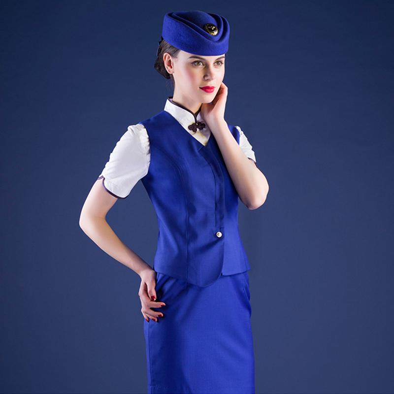 航空制服东航空姐制服美容师夏季短袖套装定制(BDFU08-5)